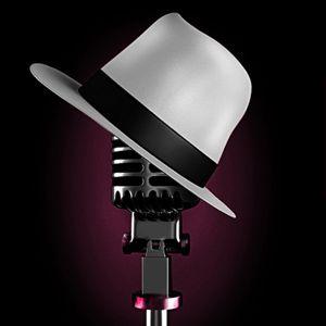 Microfoon met hoed erop